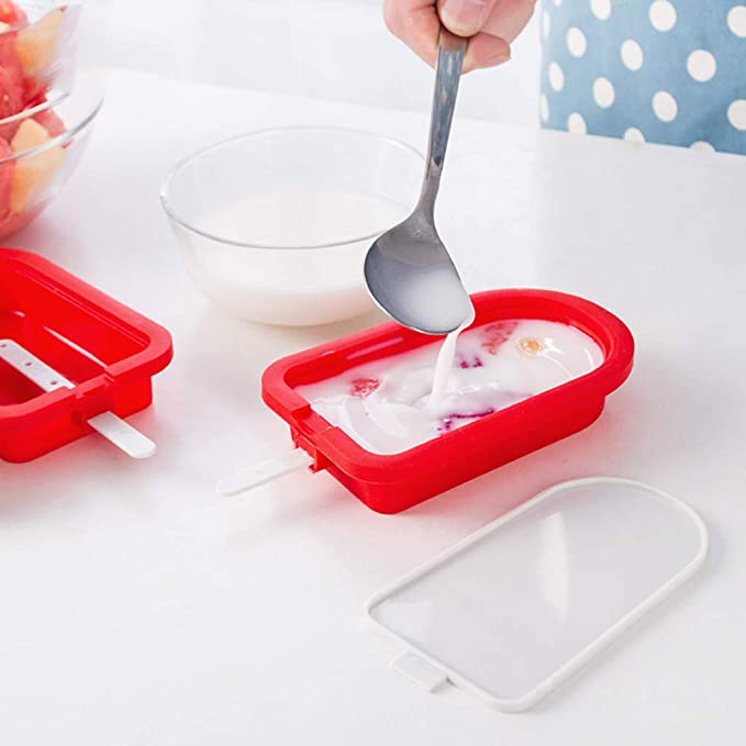 Amazon.com: DDLmax Silicone Cute Mini Ice Pop Mold with Lid, Ice Cream Maker Mold Cute Popsicle Mold: Kitchen & Dining