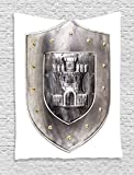 Ambesonne Medieval Decor Collection, Old Medieval Iron Shield Middle Age War Military Heraldic Elements Vintage Icons Print, Bedroom Living Room Dorm Wall Hanging Tapestry, Grey White