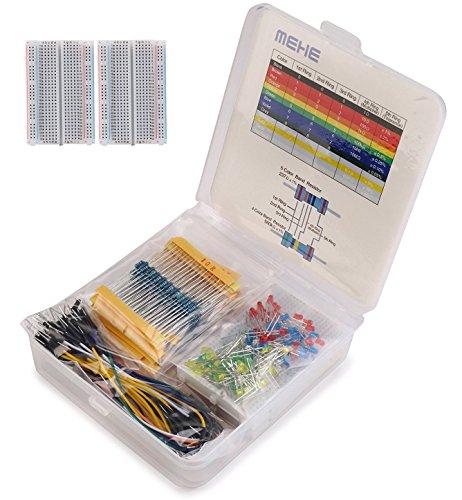 MEHE Basic Starter Kit, Values Resistor Kit Assortment 4 in 1 Electronics Components,Breadboard,Color LED,Jumper Wires for Arduino,Raspberry Pi