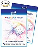 Watercolor Paper - 48 Sheets of Extra Large (15 in x 10.5 in), Heavy Stock (160 GSM), Cold Press, Acid Free, Loose White, 100% Cotton Sheets - Watercolors and Drawing. Bulk Pack for Kids or Adults.