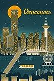 Vancouver, Canada - Retro Skyline (9x12 Art Print, Wall Decor Travel Poster)
