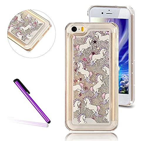 iPhone 5C Case,3D Liquid Brilliant Luxury Bling Glitter Liquid Floating Angle Girl Moving Hard Protective Case for Apple iPhone 5C (3d Bling Cases For Iphone 5c)