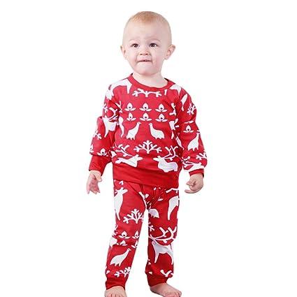 4228bb8d256e Amazon.com  Fheaven Toddler Baby 2Pcs Christmas Outfits DeerTops + ...
