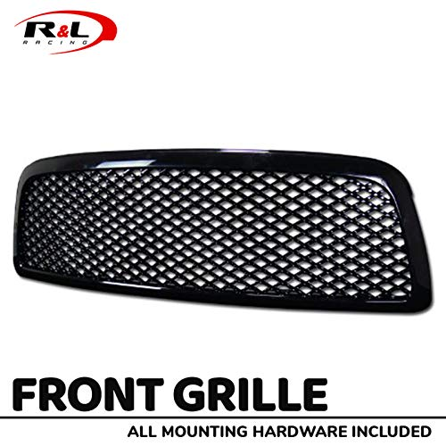 R&L Racing Black Finished Front Grill Sport Mesh Hood Bumper Grille Cover 2009-2012 For Dodge Ram 1500