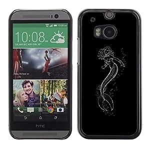 FlareStar Colour Printing Mermaid Minimalist Black Neon Tattoo cáscara Funda Case Caso de plástico para HTC One M8