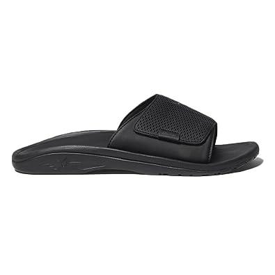 OluKai Kekoa Slide Sandal - Men's Black / Black 8