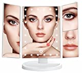 Image of Artifi Lighted Makeup Mirror with 21 LED Lights, Touch Screen Cosmetic Mirror Lighted Vanity Mirror with 3X/2X/1X Magnification, 2 Power Supply Mode Makeup Mirror (White)
