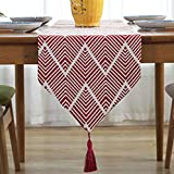 LivebyCare Multi-Size Geometric Polyester Elegant Fall Red Table Runners with Tassels Elegant Modern 86 Inches Table Runners For Home Decoration