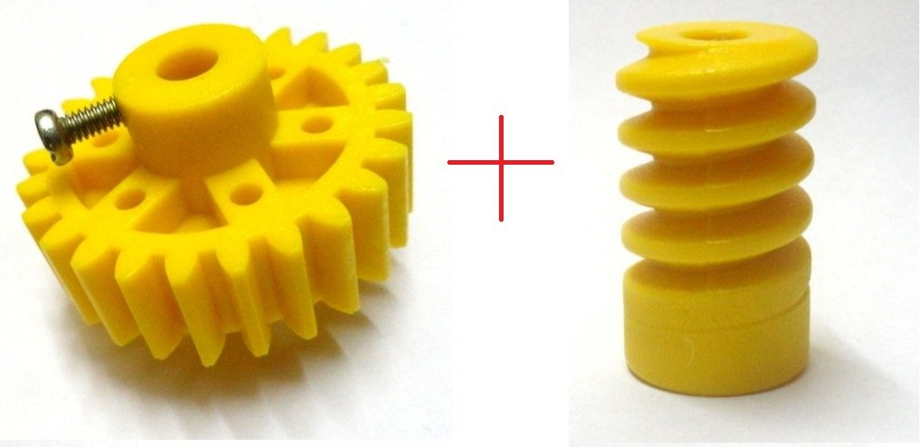 Invento 1 Pair Plastic Spur and Worm Gear for Diy Projects