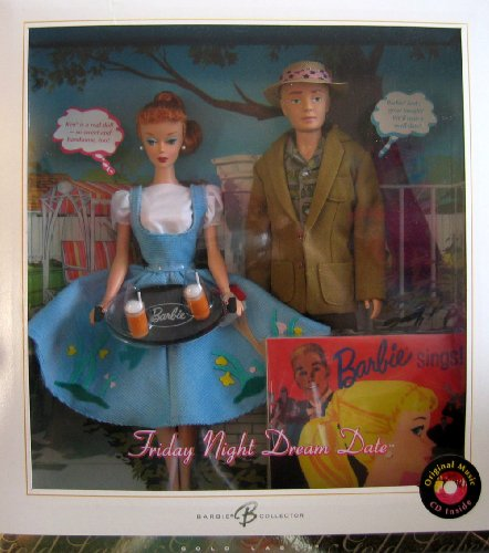 Friday Night Dream Date Barbie & Ken Doll Giftset w CD - Gold Label Reproduction Barbie Collector (2006) - Barbie And Ken Box Costume