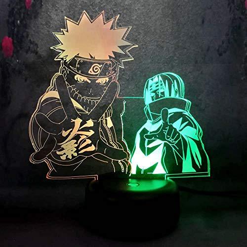 3D LED Night Light for Kid Nursery Lamp Japan Cartoon Sasuke Naruto Dual Color Boy Bedroom Decoration Action Figure Illusion Atmosphere Decor Children's Day Gift from Amroe