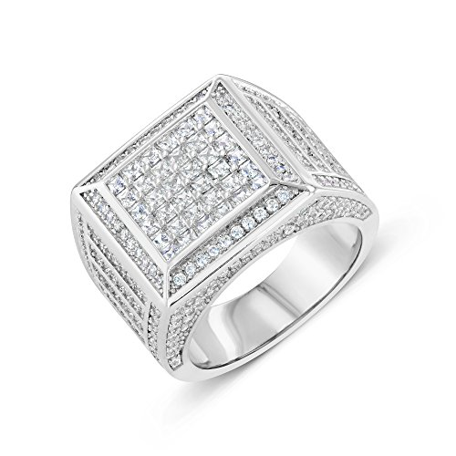 Zilver 14K White Gold Cluster CZ Iced Out Pinky Ring for Men Hip Hop - Men's CZ Ring, Perfect Ring, Wedding Rings, Promise Ring, CZ Engagement Ring, Wedding Bands, Box (10)