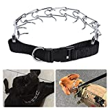 Walmeck Dog Prong Collar Pets Training Pinch Stainless Steel Gear with Adjustable Length Releasable Snap Buckle Updated Blunt-Cut Tip for Medium Large Dogs