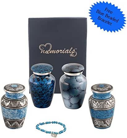 Set of 4 Beautiful Shades of Blue Keepsakes Urns - Mini Blue Keepsakes - Keepsake Urn - Blue Token Urns - Handcrafted and Affordable Mini Urns for Ashes - Best Deal