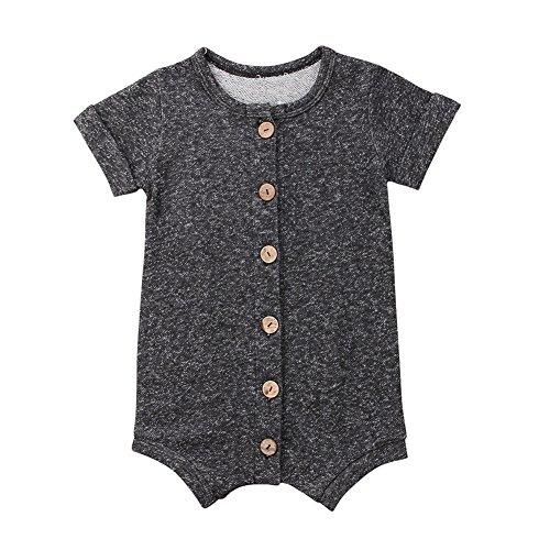Fiomva Infant Newborn Baby Boy Girl Clothes Cotton Bodysuit Romper Jumpsuit Sunsuit Outfits Clothing Grey