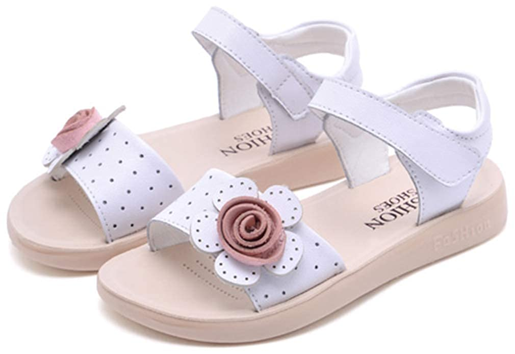 VECJUNIA Girls Adorable Sandals with Flowers Open Toe Nonslip Shoes