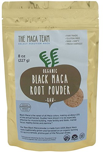 (Raw Certified Organic Black Maca Powder, Fresh Harvest From Peru, Fair Trade, Gmo-free, Vegan, Gluten Free, 8 Oz - 25 Servings)