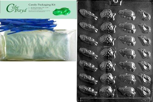 Cybrtrayd Mdk50B-N012BS peces náutico molde de caramelo de chocolate con embalaje paquete, incluye 50bolsas de celofán,...