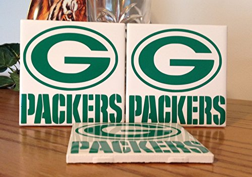 Green Bay Packers ceramic tile coasters (set of 3)