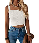 Ofenbuy Womens Ridded Crop Top Sleeveless Tank Tops Square Neck Summer Casual Sexy Solid Basic Ca...