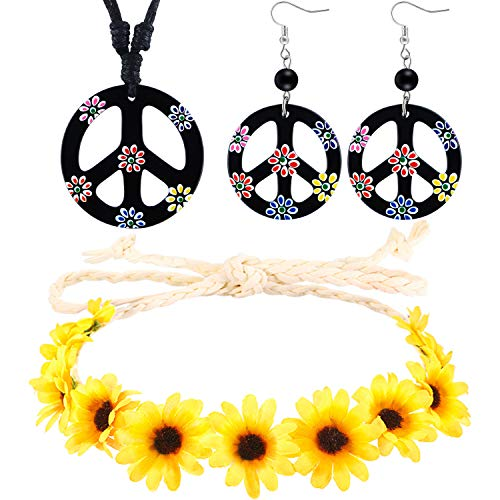 3 Pieces Hippie Boho Costume Set, Includes Flower Crown Headband, Peace Sign Necklace and Earrings 60s 70s Dressing Accessory for Women Men ()