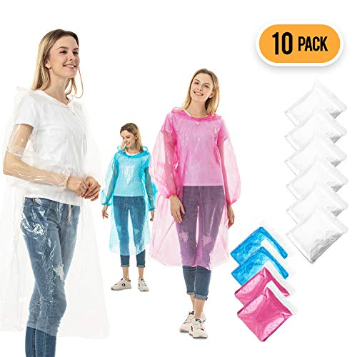 Rain Ponchos for Adults Disposable - 10 Pack Bulk Extra Thick Emergency Waterproof Rain Poncho with Drawstring Hood Raincoat for Men Women Plastic Clear Rain Gear for Disney Hiking Travel Concerts]()