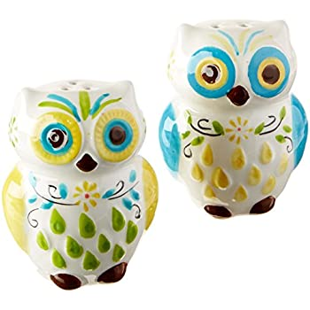 Fantastical Bird Salt And Pepper Shakers. Floral Owl Salt  Pepper Shakers Hand painted Ceramic by Boston Warehouse Amazon com SUCK UK Wind up Robot And