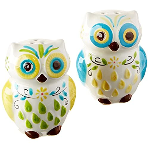 absolutely smart owl items. Floral Owl Salt  Pepper Shakers Hand painted Ceramic by Boston Warehouse Kitchen Decor Amazon com