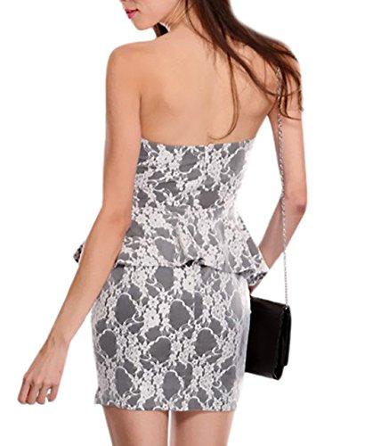 herzförmiger Weiß Kleid DéclicShopping blumendruck Ausschnitt Lyvia Grau Kurzes und BwStqtT