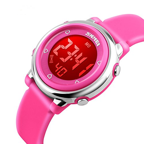 Girls Digital Waterproof Watch, Kids Sport Outdoor Electrical Watches Colorful Luminescent Children Wristwatches with Alarm and Stopwatch - Pink