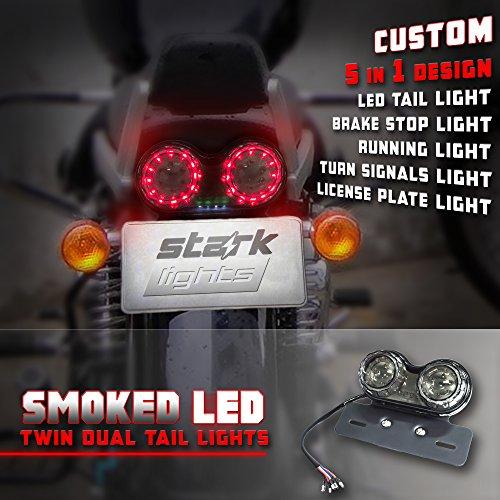 Stark 40-LED Motorcycle Twin Dual Tail Turn Signal Brake License Plate Integrated Universal LED Light For Harley Davison Honda Yamaha Suzuki Kawasaki BMW (Slot Bracket Twin)