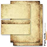 Writing Paper 20-Piece Set Including 10 Matching Envelopes without Window, with Aged Paper Design Letter Paper with Aged Paper Design (on Both Sides) 10 sheet of paper and 10 matching envelopes DIN long without window.