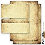 20 Pièces paper-media set complet paPIER à lettre style ancien (recto et verso) 10 feuilles de paPIER à lettre 10 enveloppes format long sans fenêtre assorties