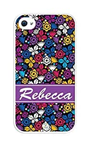 iZERCASE Personalized Colorful Flowers and Butterflies Pattern RUBBER iphone 4 case - Fits iphone 4, iphone 4S T-Mobile, AT&T, Sprint, Verizon and International (White)