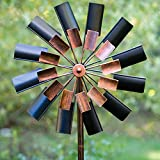 Bits and Pieces - Two Level Copper and Black Windmill - Decorative Lawn Ornament Wind Spinner- Kinetic Garden Spinner