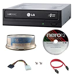LG GH24NSC0 24X Super Multi M-Disc DVD CD Internal Burner Writer Drive + FREE 15pk Mdisc + Nero Software + Cables & Mounting Screws