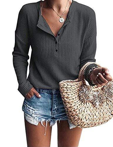 ACKKIA Women's Casual Drop Shoulder Henley Shirt Waffle Knit Tunic Sweater Tops Charcoal Grey Size L ()
