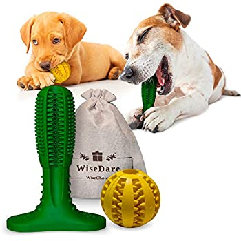 Dog Toothbrush Stick and Treat Ball - 2 Pack Dog Tooth Cleaning and Ball Chew Toys for Small Medium and Large Dogs Oral Dental Care Massager Brush Doggy Bite Resistant Rubber Ball Food Dispenser