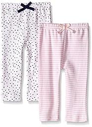 BON BEBE Baby Girls\' 2 Pack Assorted Legging Set, Pink Butterflies, 3-6 Months