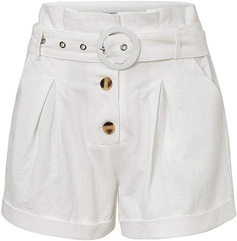 OBMY Ruffle Cintura Alta Bolsillos Mujeres Pantalones Cortos De Algodón Sólido Botón Blanco Pantalones Cortos para Mujer Cinturón Lazo Casual Verano White S: Amazon.es: Deportes y aire libre