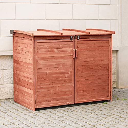 - Leisure Season RSS2001L Large Horizontal Refuse Storage Shed - Brown - Wooden Refuse Cabinet for Trash Bins - Outdoor Tool and Garage Organizer - Weatherproof House and Garden Rubbish Enclosure Box