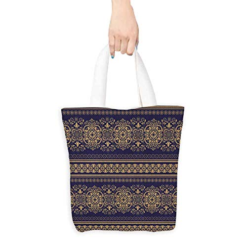 Turkish Pattern Canvas Tote Damask Style Medieval Flowers with Rich Details Horizontal Borders Everyday Use 16.5