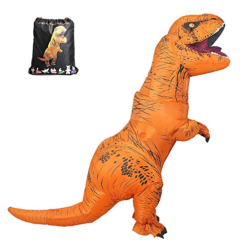 Inflatable T-Rex Costume Adult with Exclusive Drawstring Bag Double Zippers Dinosaur Halloween Costume -