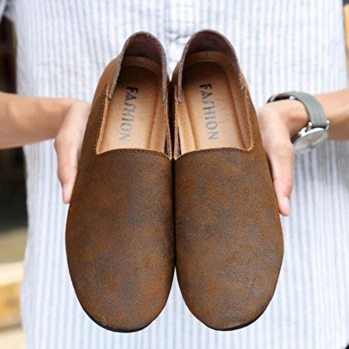 Bomba Hombres Cuero Zapatos casuales Ponerse Mocasín Oxford Estilo de Inglaterra Coincidencia de color Respirable Antideslizante Zapatos perezosos Conducción Zapatos Pedal Zapatos Tamaño de la UE 38-4 Brown