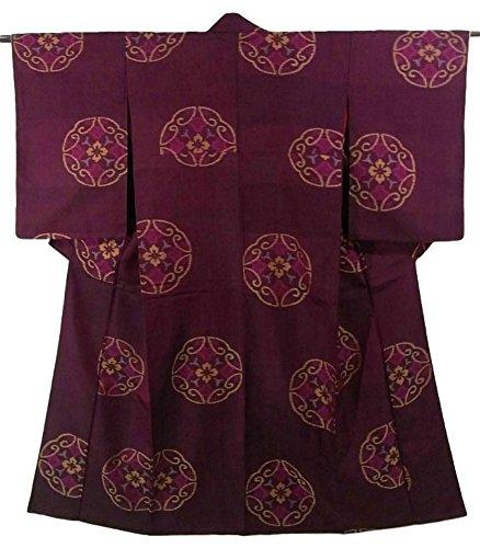 リサイクル 着物 銘仙 赤紫の地に華紋 正絹 袷 裄61cm 身丈144cm