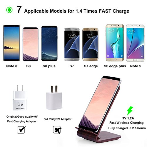Fast Wireless Charger, Yolike A8 Red Wood Grain 2 Coils Qi Wireless Charger Charging Stand for iPhone X, iPhone 8/8 Plus, Fast Charging for Samsung S9 S9+ Note8 S8 S8+ S7 S7 Edge S6 Edge+ Note5 by YOLIKE (Image #3)