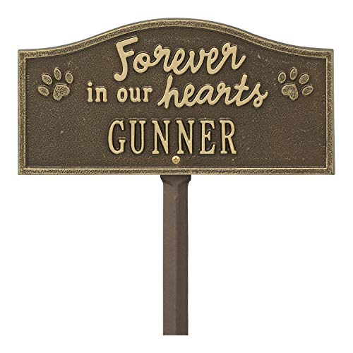 Whitehall Forever in Our Hearts Personalized Pet Memorial Yard Sign - Paw Print Remembrance Marker - Antique Brass
