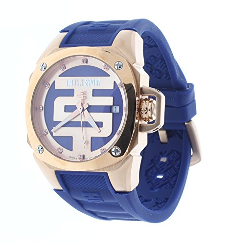 Technosport Swarovski Crystal 38mm Rose Gold Case Dark Blue Silicone Strap Women's Watch TS-102-13