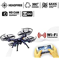 Hanbaili Upgraded X5SW-1 drone with 720P Wifi Camera Real Time Transmission,360 Flips One-touch off Drone with Headless Mode Easy Fly for Beginners