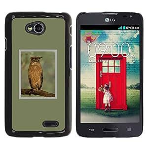 YOYOYO Smartphone Protección Defender Duro Negro Funda Imagen Diseño Carcasa Tapa Case Skin Cover Para LG Optimus L70 LS620 D325 MS323 - Búho verde rama alas plumas primavera